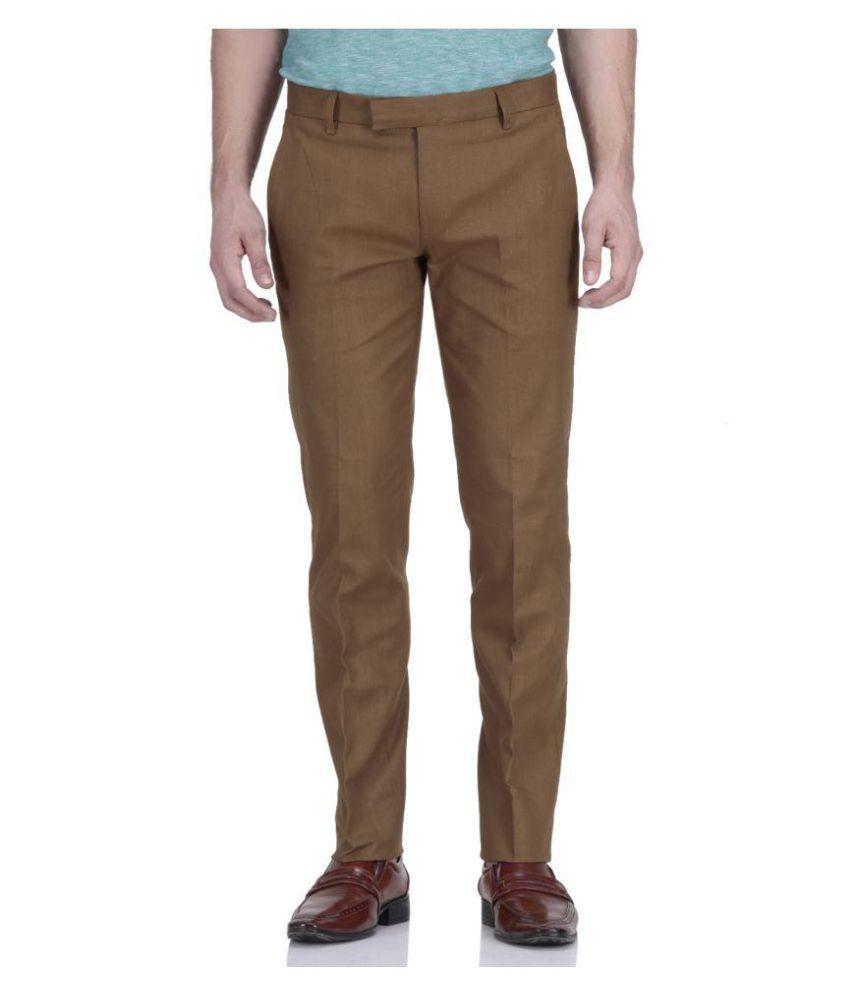 Rich Blue Dark Brown Regular Pleated Trouser