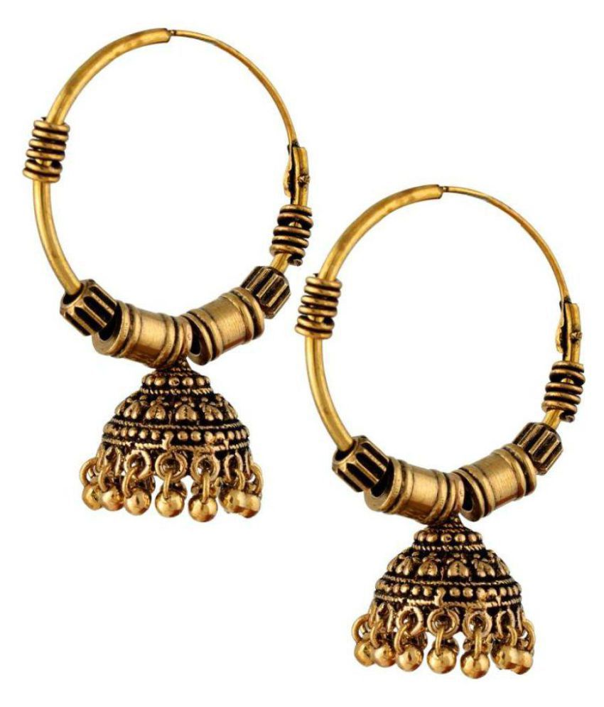 A K Creation Copper Ball Hanging Black Metal Alloy Jhumki Earring