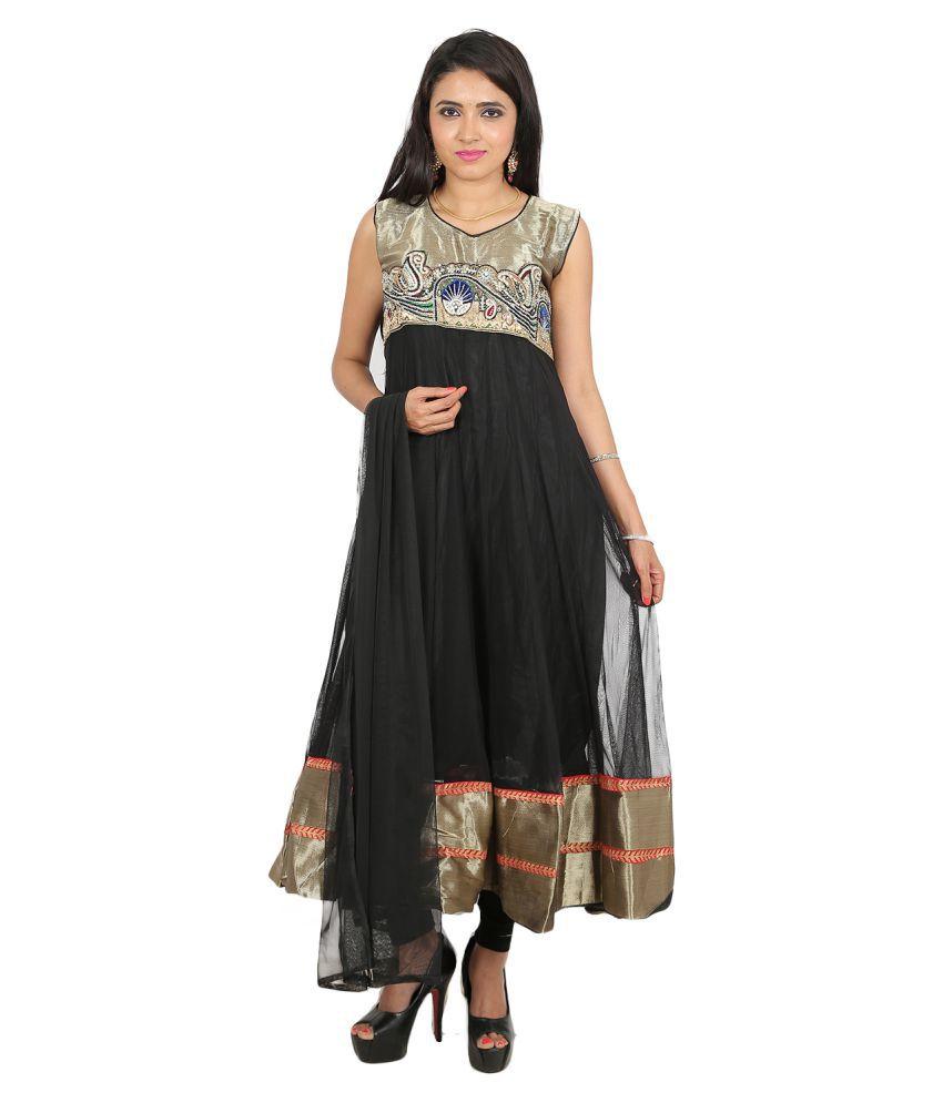 Hita Black Net Anarkali Stitched Suit
