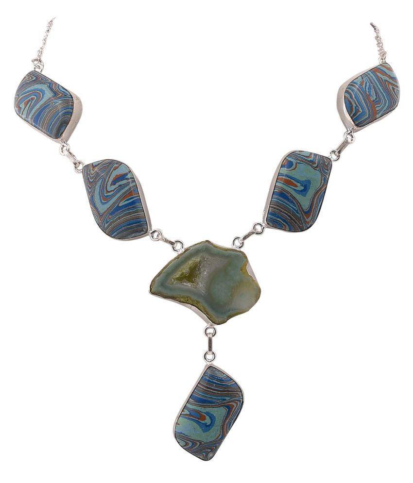 Jewel Fab ArtJasper And Druzy Gemstone Necklace Handmade silver Plated Jewelry Necklace