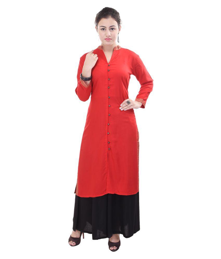 Shopping World Red Rayon A-line Kurti