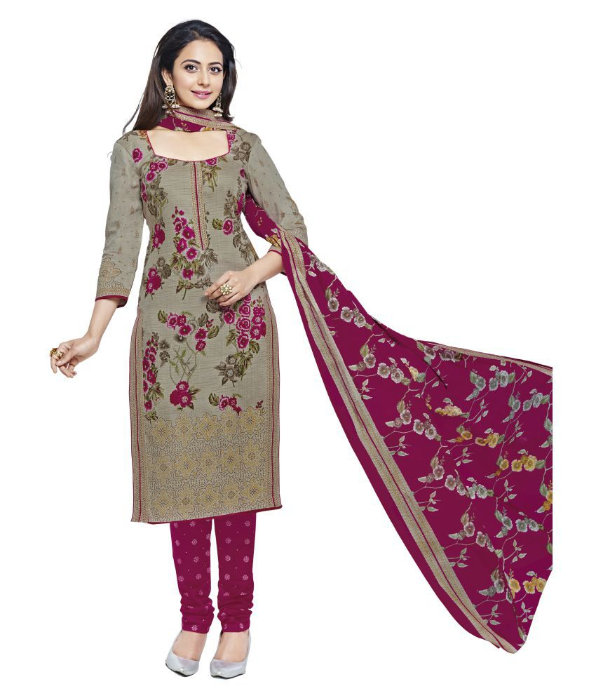672ffbb96c Shree Ganesh Grey and Beige Cotton Dress Material - Buy Shree Ganesh Grey  and Beige Cotton Dress Material Online at Best Prices in India on Snapdeal