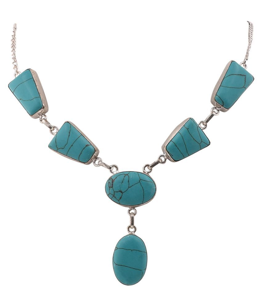 Jewel Fab Art Blue Silver Plated Necklace Jewelry
