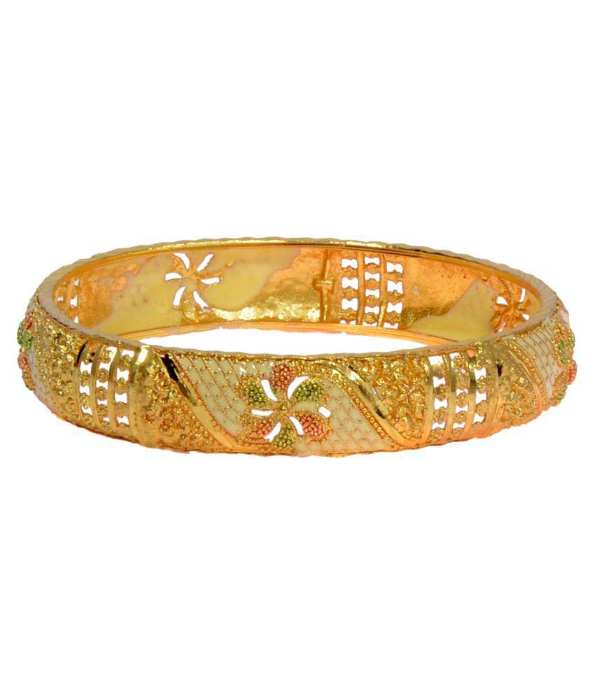 Antique Gold N Jadtar Set: Mansiyaorange Antique Look Gold Plated Artificial Bangle