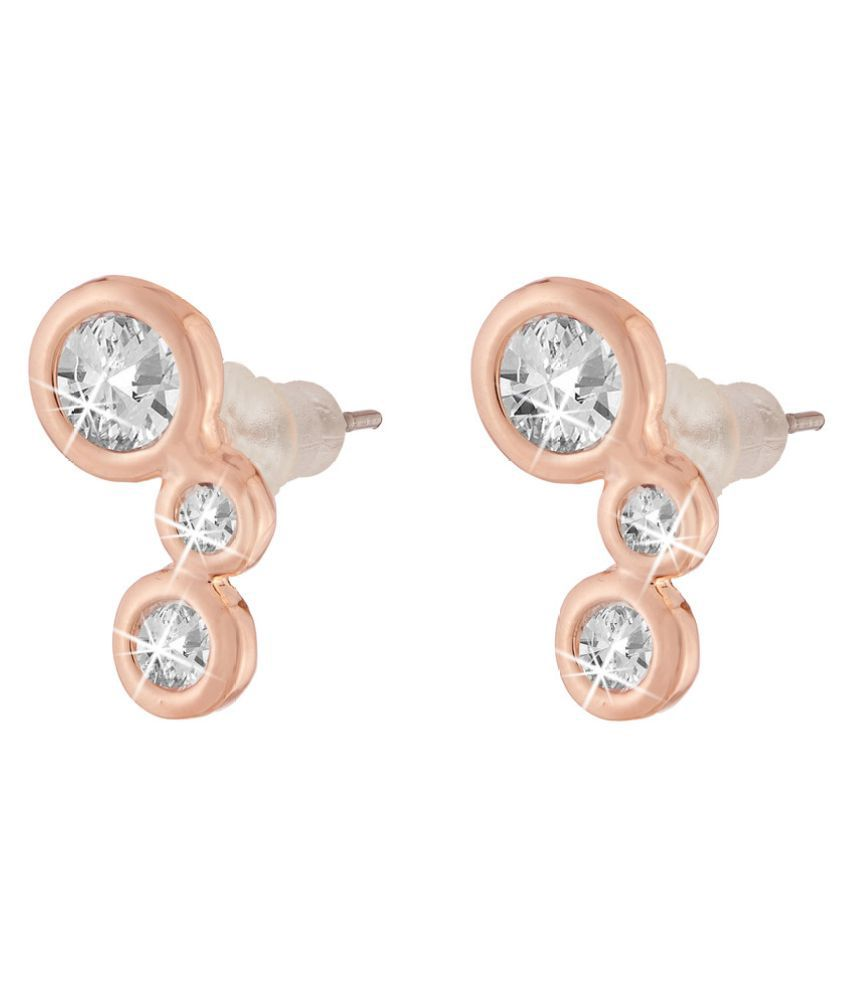 Jazz Jewellery Rose Gold Plated Daily Wear Circle Shape White Cubic Zirconium Studs for Women