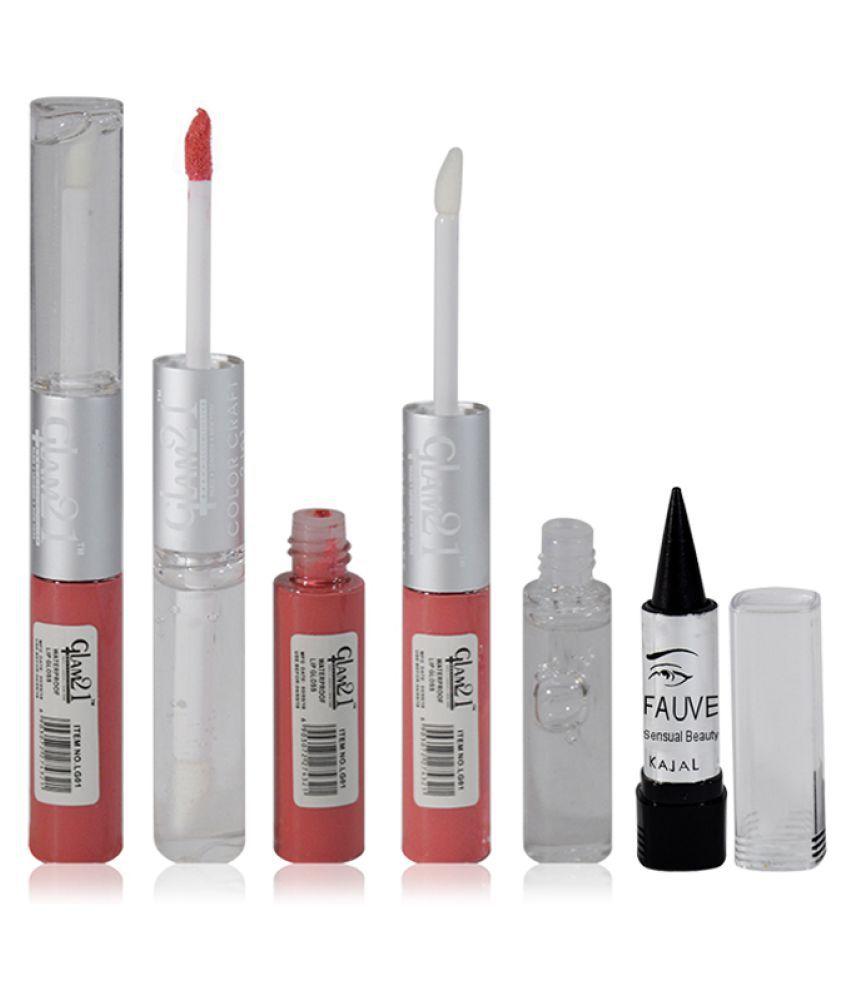 Glam 21 GCI Free Kajal With Lip Gloss Liquid Peach 11 gm
