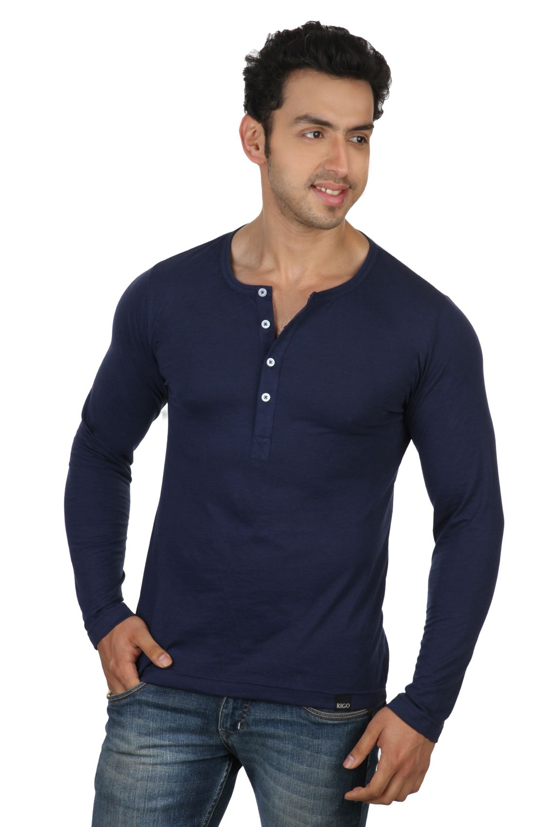 Rigo Navy Blue Slim Fit Henley T-Shirt