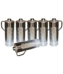 Veda Home & Lifestyle Veda Copper Bottles Silver 6000 Fridge Bottle Set Of 6
