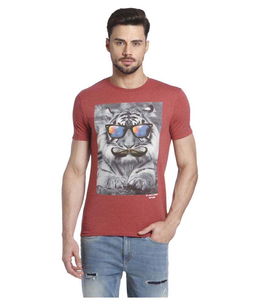 Jack & Jones Red Round T-Shirt