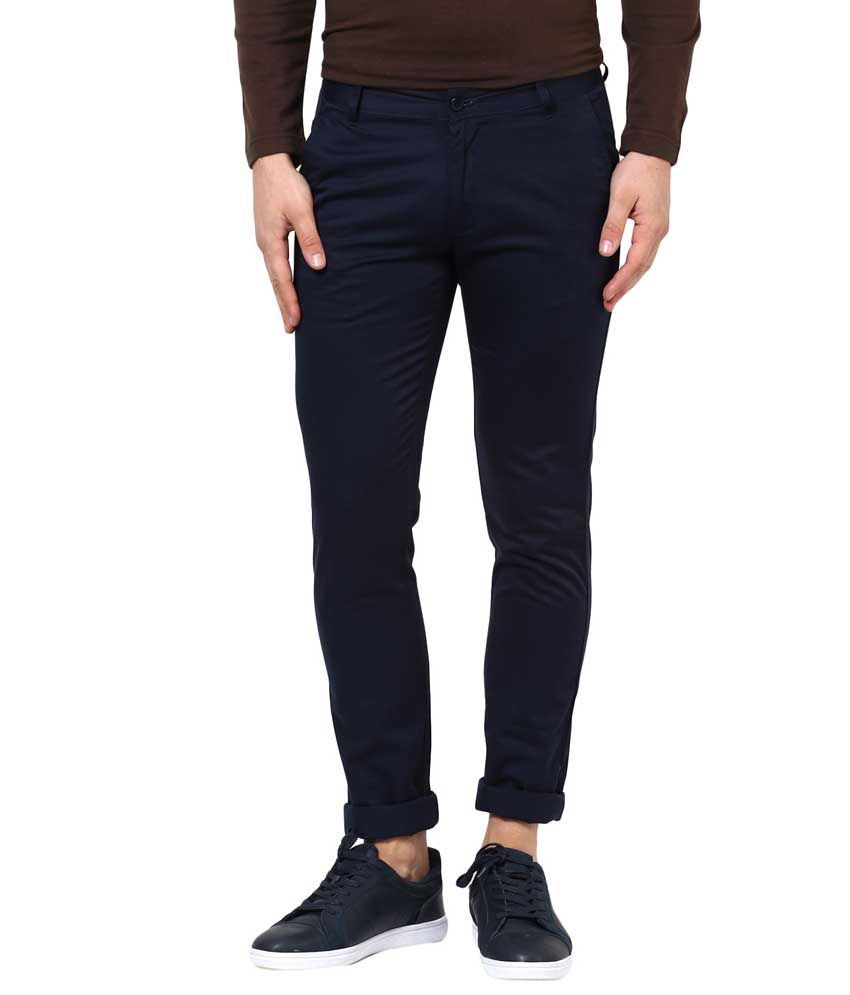 Bukkl Blue Slim Flat Chinos