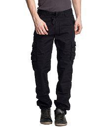 Beevee Black Regular Cargos Trouser