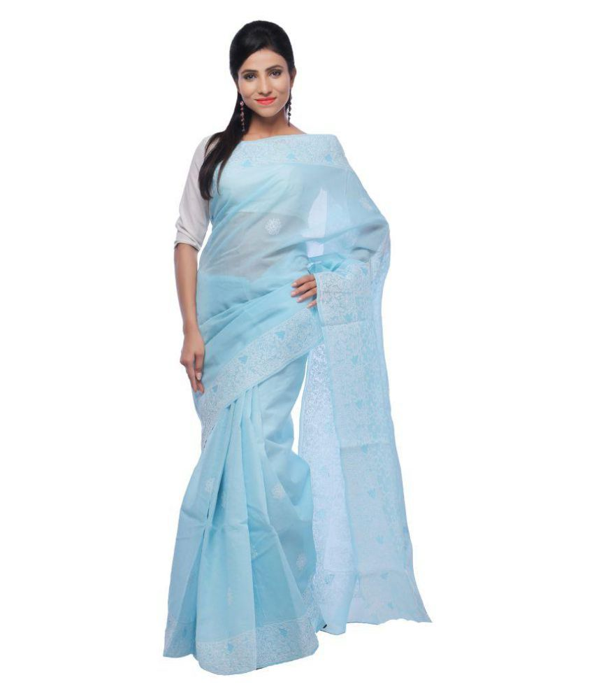 BDS CHIKAN Blue Cotton Saree