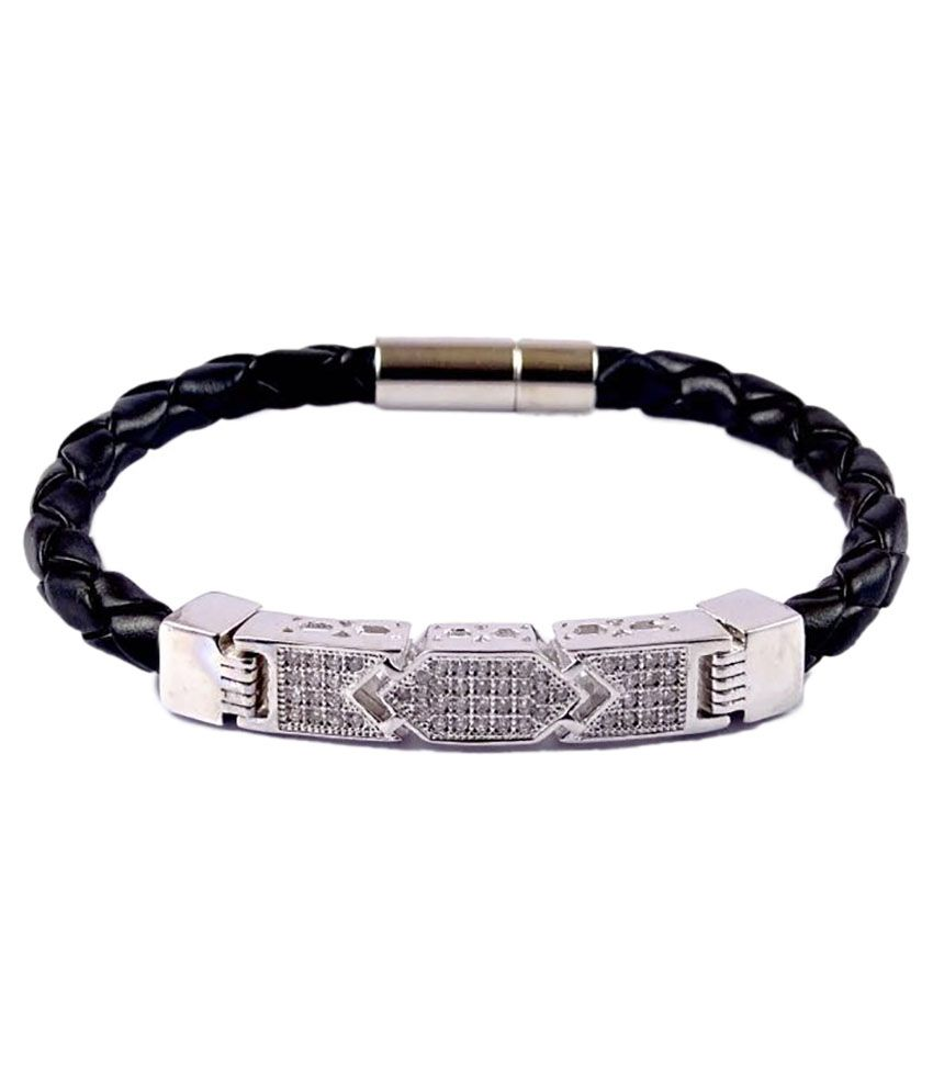 7 Star Jewel Silver Plated Leather Royal Bracelet