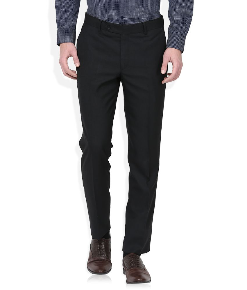 Wills Lifestyle Black Slim Flat Trouser