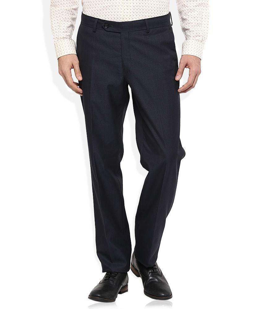 Wills Lifestyle Blue Slim Pleated Trouser