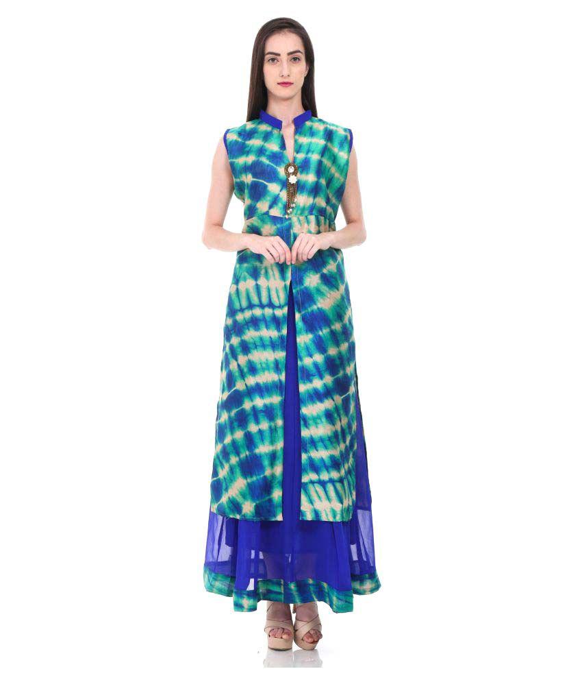 SwaggClothing Royal Blue Silk A-line Kurti