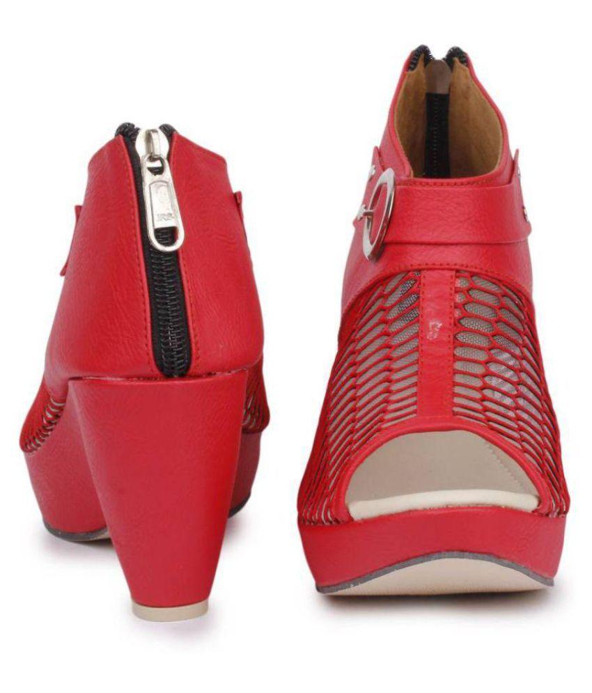 Fadrin Red Block Heels Price in India- Buy Fadrin Red Block Heels ...