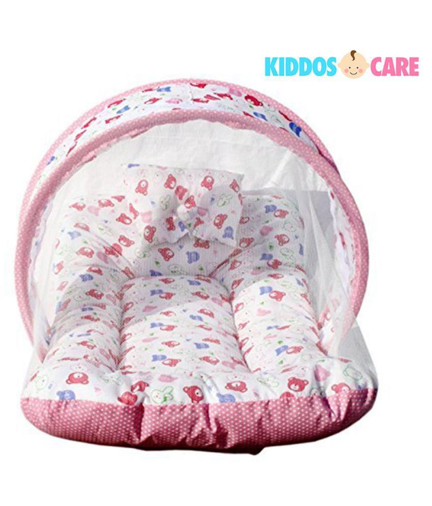 kiddoscare multicolour toddler mattress with mosquito net for baby