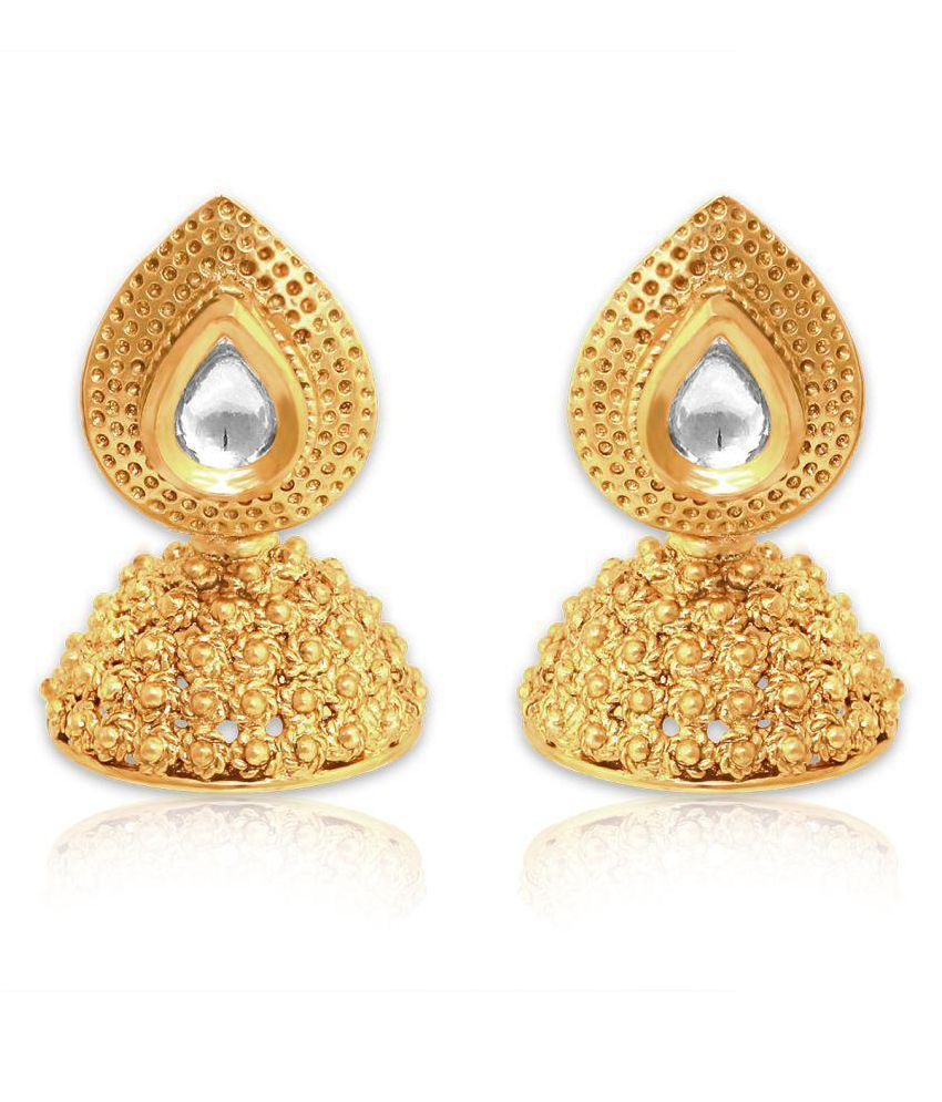Spargz Golden Brass Traditional Look Gold Plating Kundan Jhumki Earring