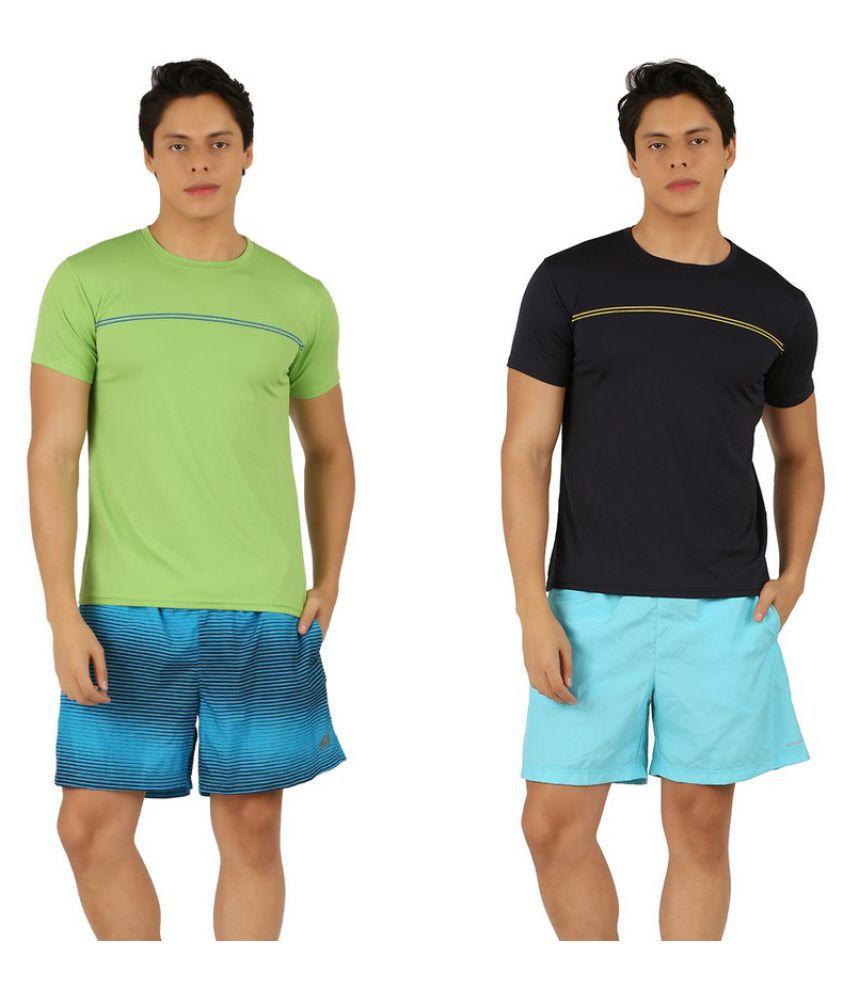 Leopardskyn Men Multicolor Sports T-Shirts - Pack of 2