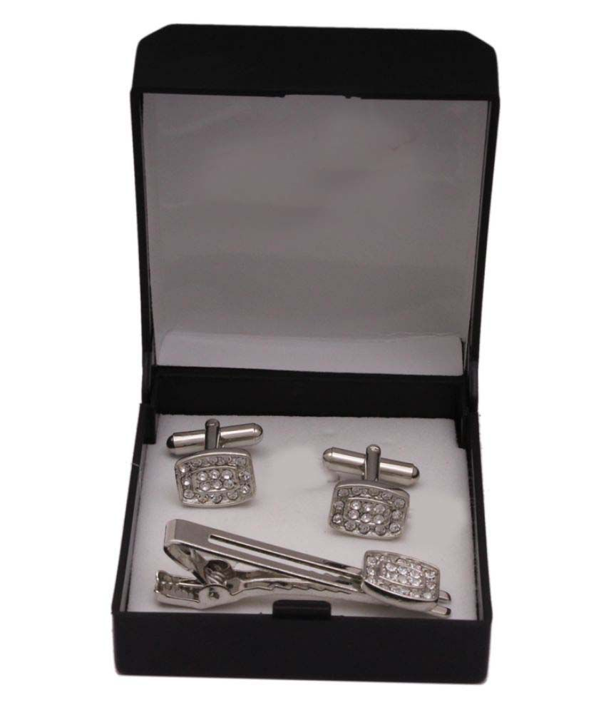Sushito Silver Alloy Cufflinks With Tie Pin