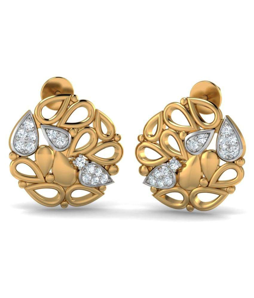 P.N.Gadgil Jewellers 18k BIS Hallmarked Gold Diamond Studs