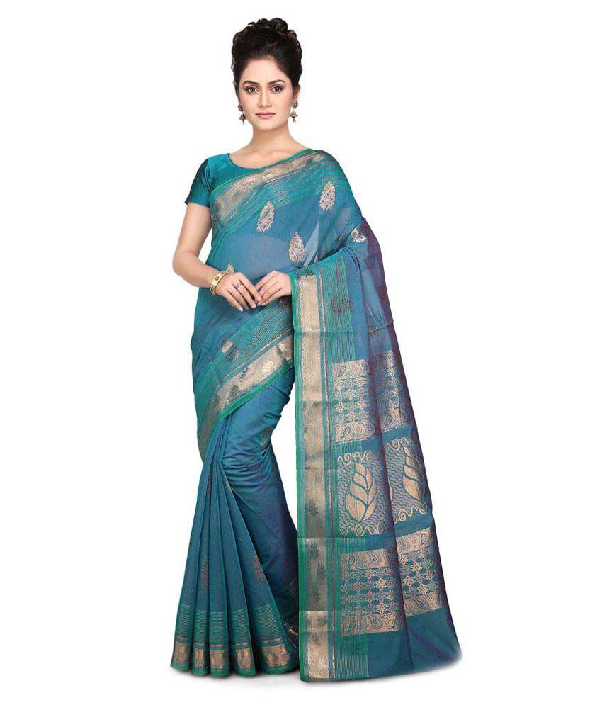Platinaa Blue Cotton Silk Saree