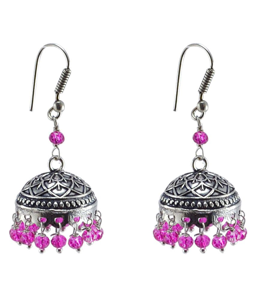 Inspired Stylish Pink Crystal Beads Jhumki-Tribal Chandelier Earrings by Silvesto India Jewelry PG-30789