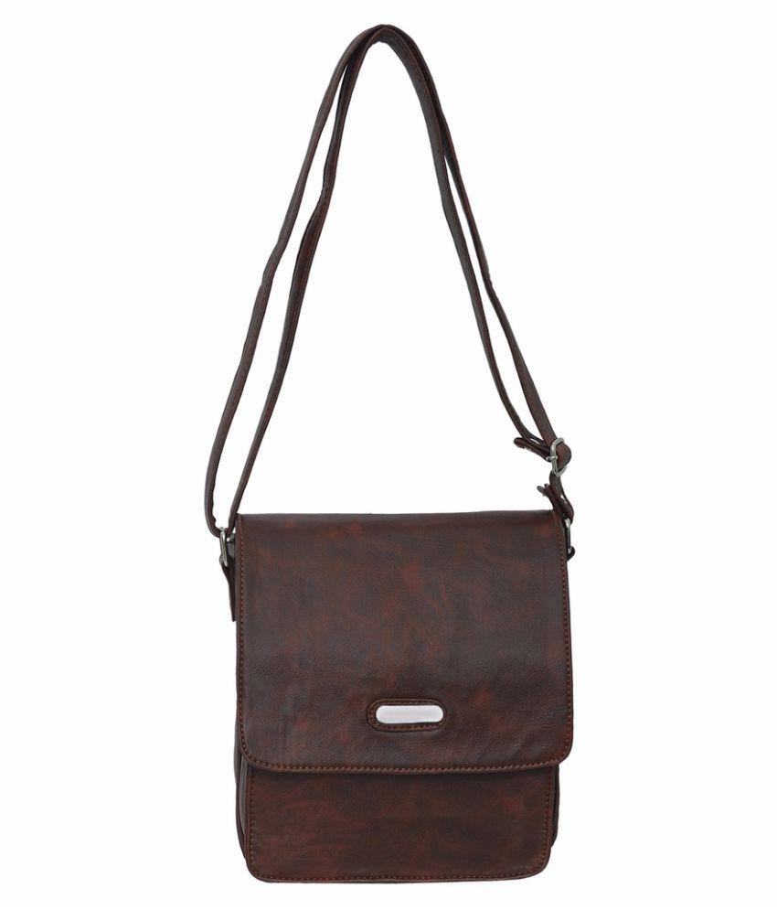 JH Hand Bag Brown P.U. Sling Bag