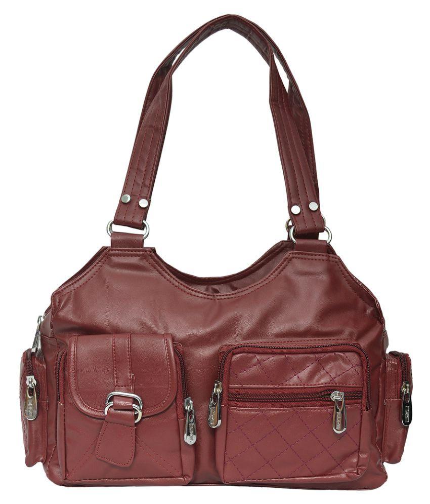 JH Hand Bag Maroon P.U. Handheld