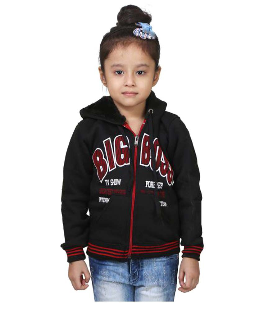 Crazeis Black Wollen Winter Jackets for Girl's