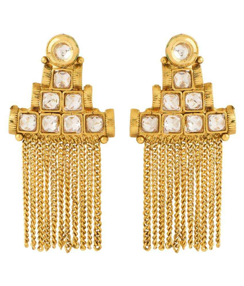 Voylla Golden Alloy Hangings Earring