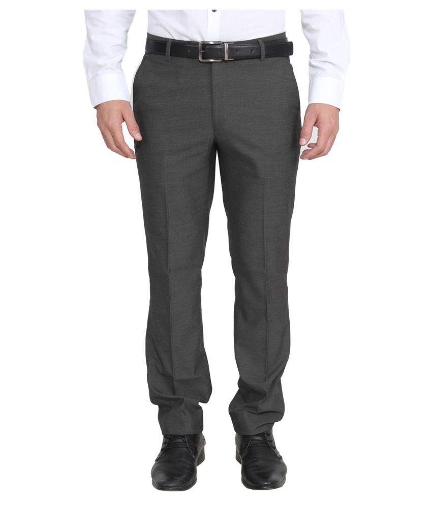 La Mode Grey Regular Flat Trouser