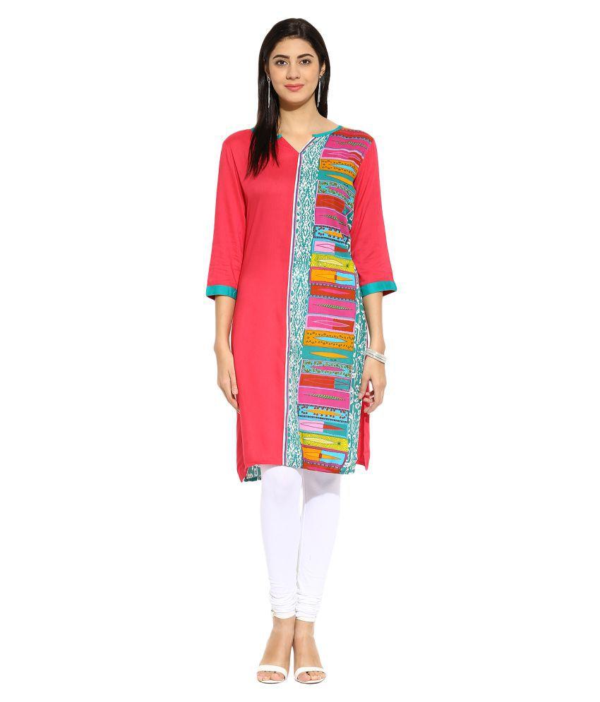 Mytri Multicoloured Rayon Straight Kurti
