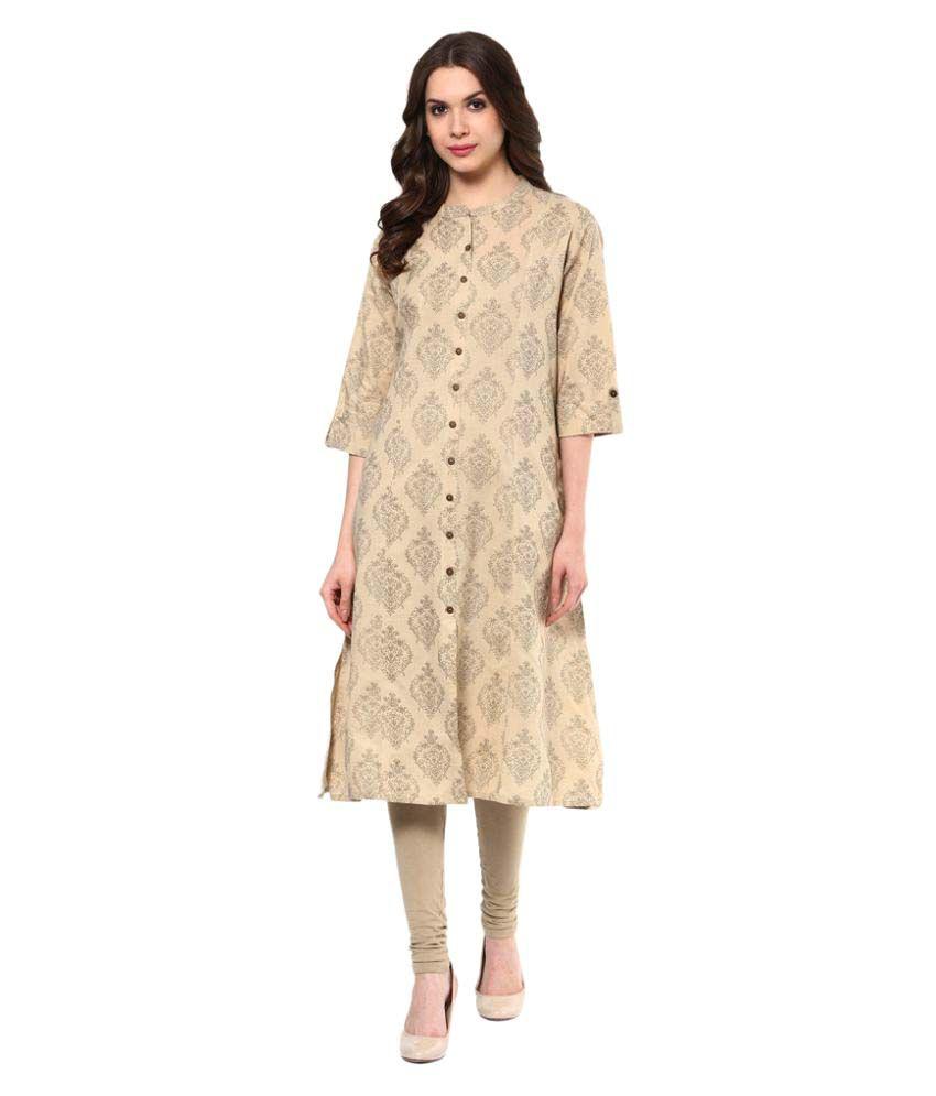 4422343b4 Rangmanch By Pantaloons Beige Cotton A-line Kurti