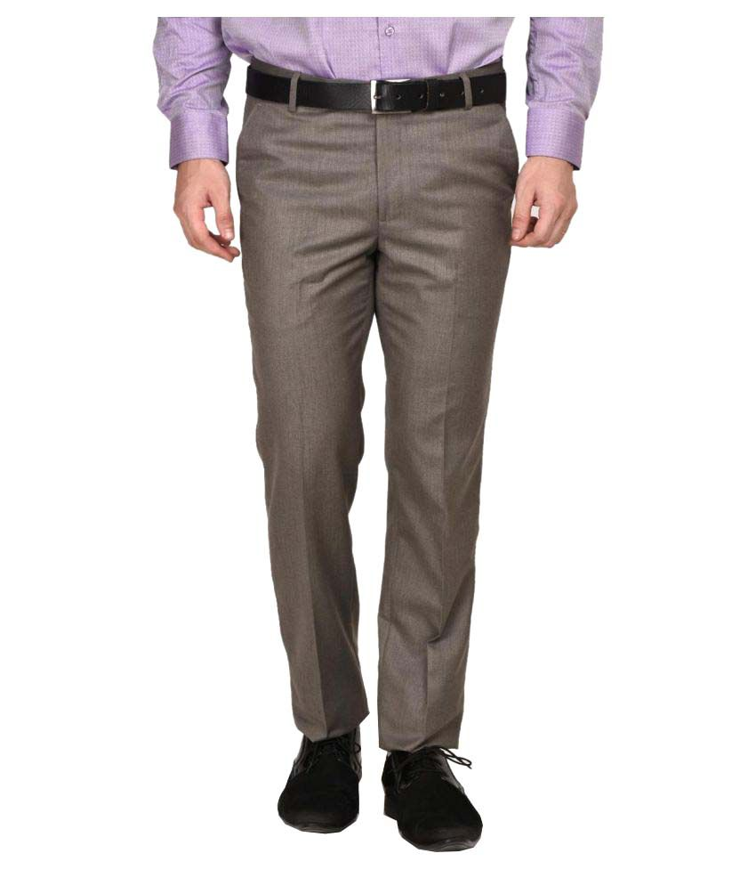 La Mode Brown Regular Flat Trouser