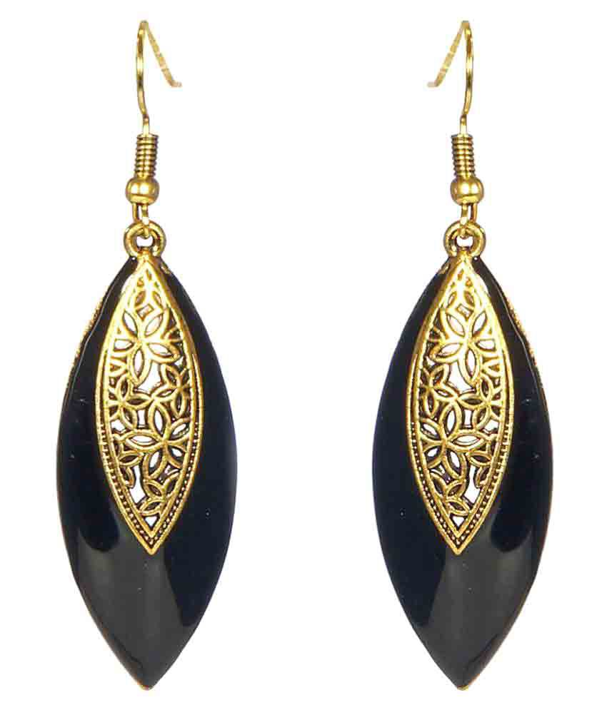 A K Creation Black Jhumki Earrings Single Pair