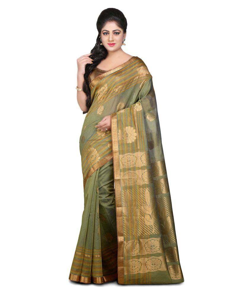 Platinum Green Cotton Silk Saree