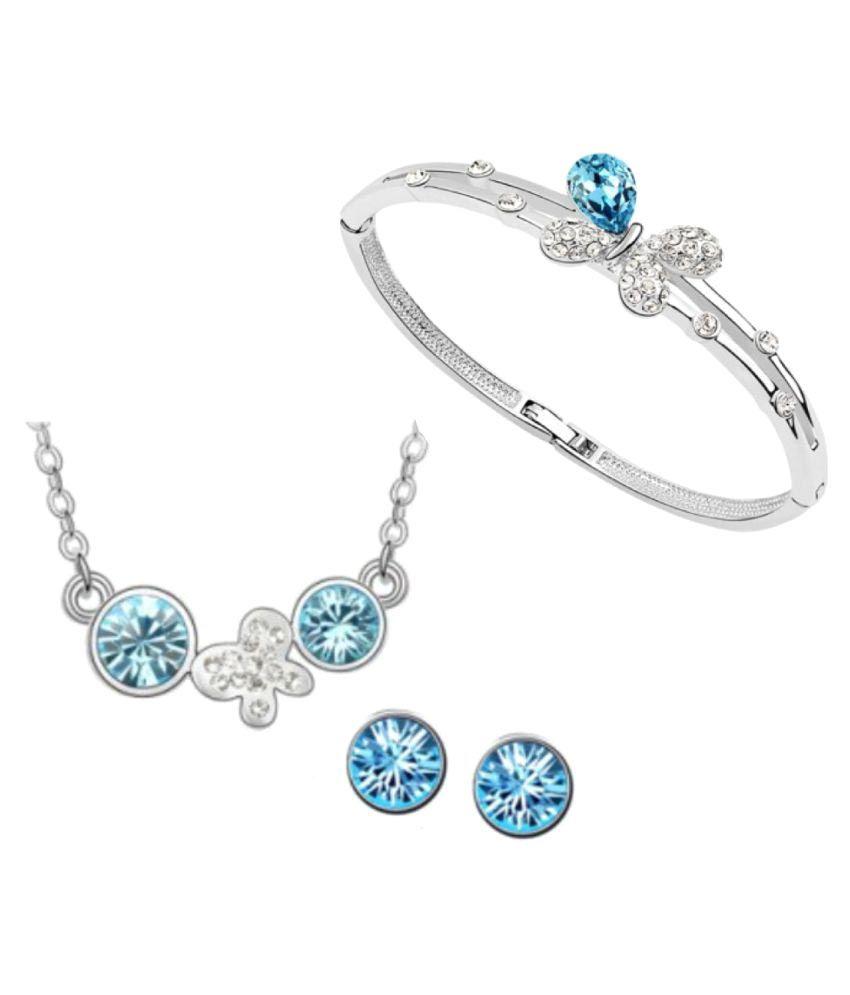 Ark International jewelry Crystal Blue Modern Necklace Set With Bracelet