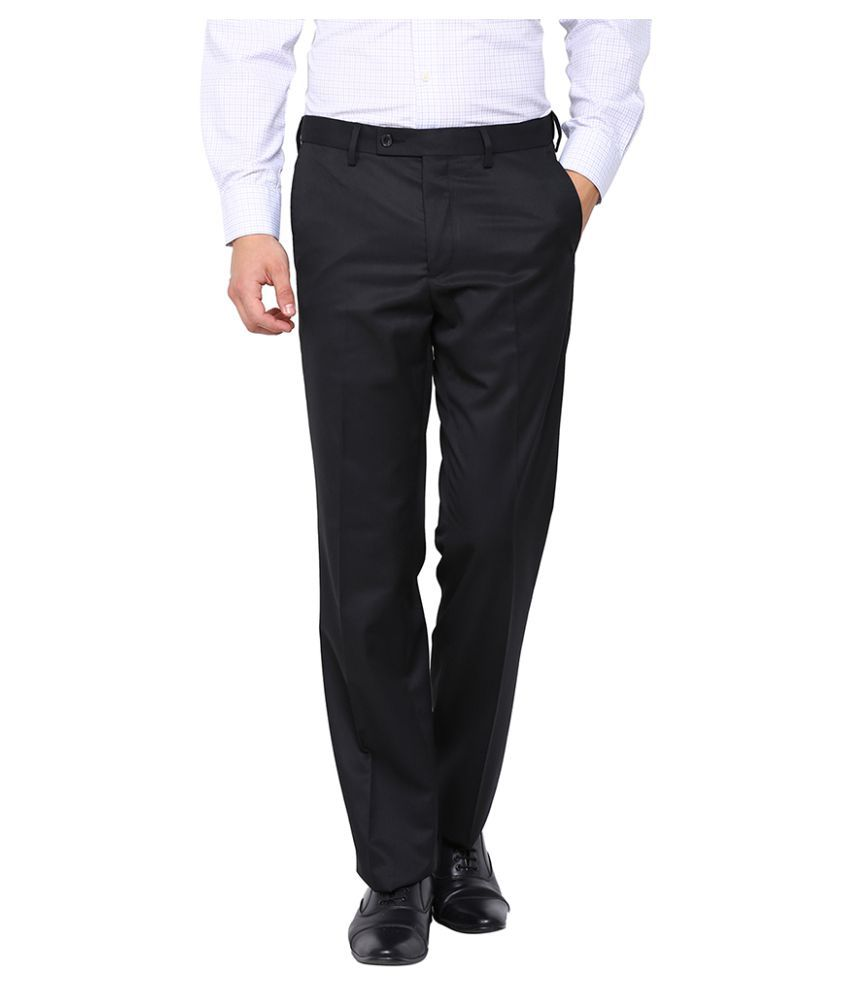 Arrow Black Regular Flat Trouser