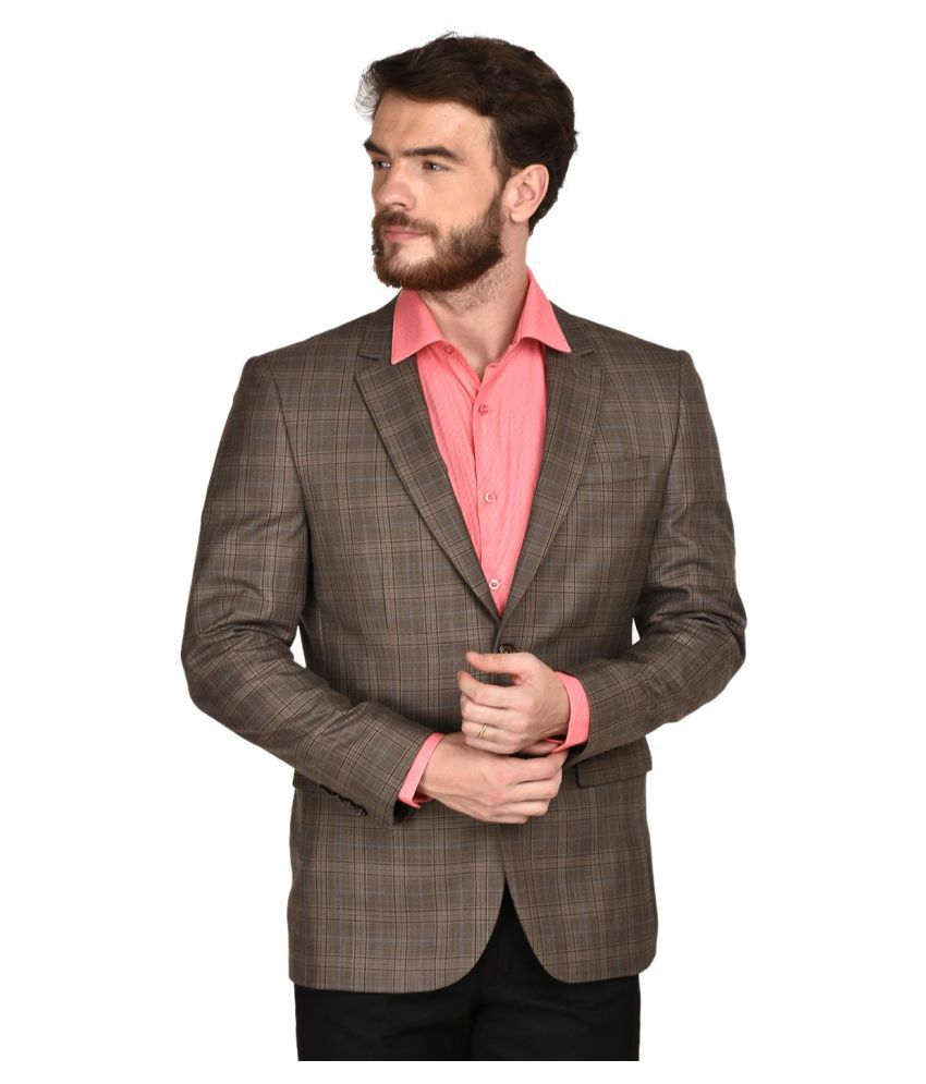 La Mode Brown Checks Formal Blazers