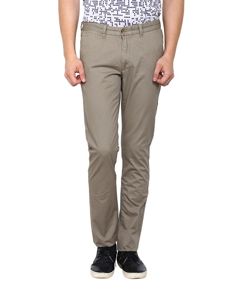 Arrow Sports Beige Regular Flat Trouser