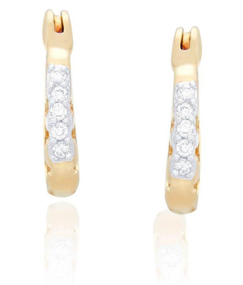 Shuddhi 18k BIS Hallmarked Yellow Gold Diamond Hoop