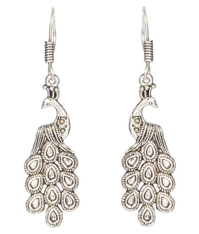 A K Creation Silver Hanging Elegant Metal Alloy Peacock Jhumki Earring Single Pair
