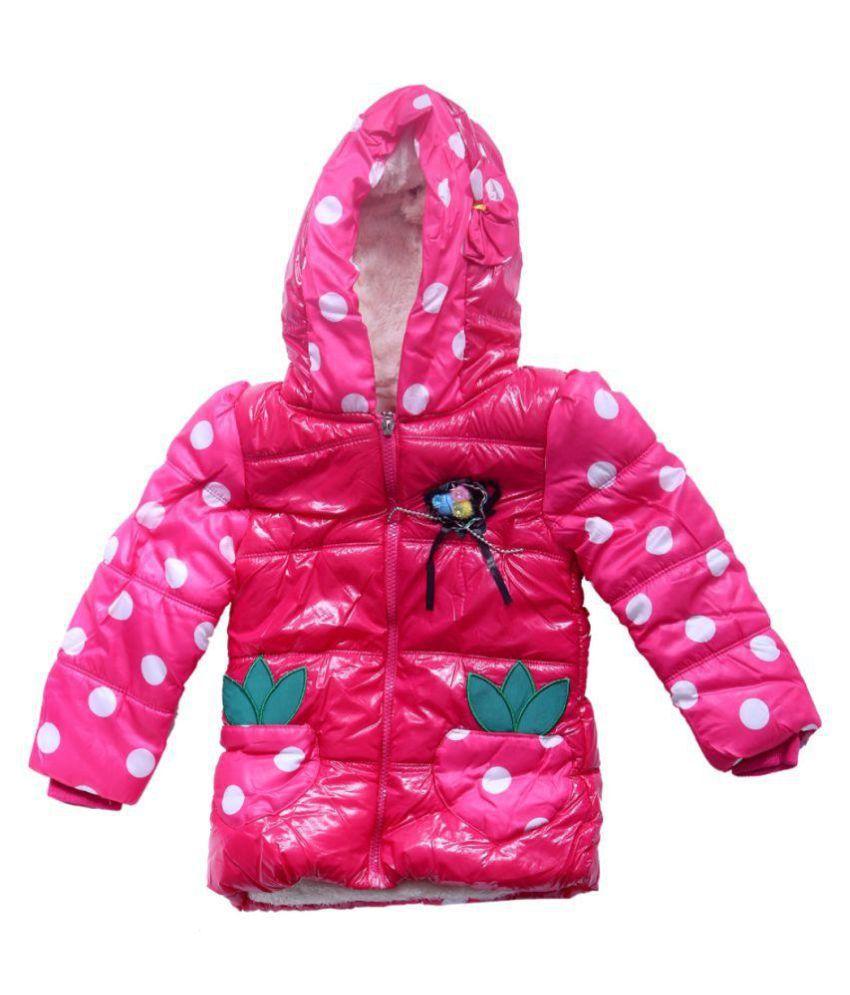 Ishika Garments Pink Faux Leather Light Weight Jacket