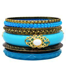 Sanaa Creations Crafted Acrylic Sea Blue Kada Gold Plated Alloy Bangles Set Jewellery For Women/Girls - Free Size