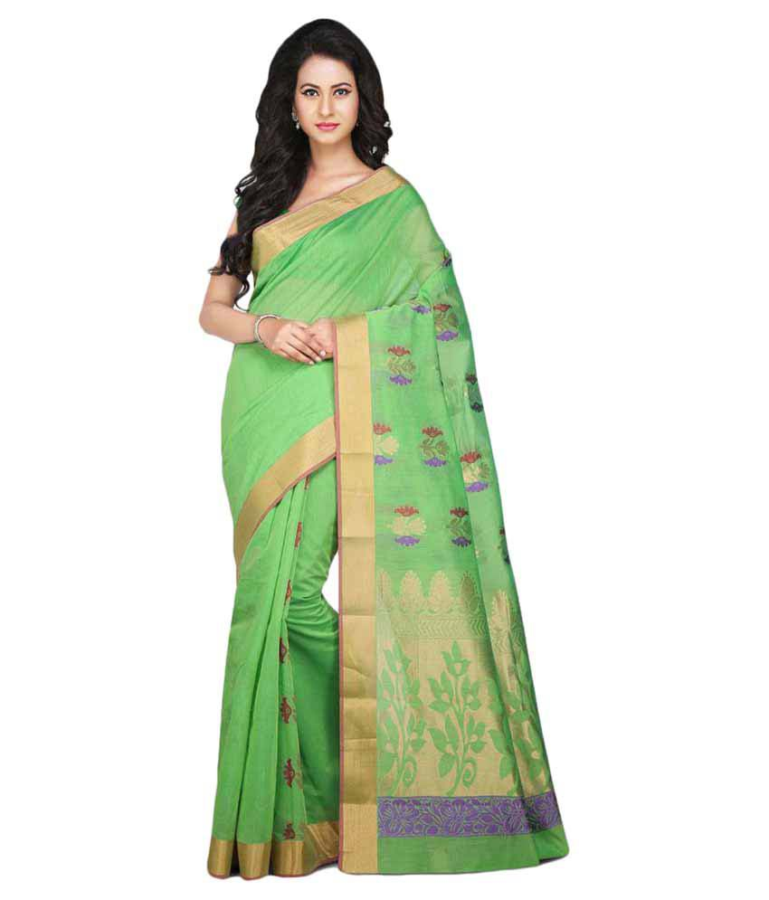 Pratami Green Cotton Silk Saree