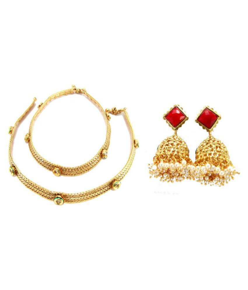 9blings Combo Bridal Colletion Gold Plated Anklet & Earring