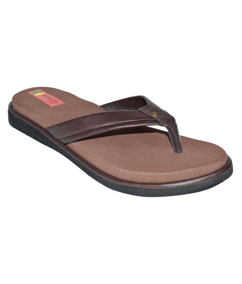c2714e8f40 Health Line Brown Slippers Price in India- Buy Health Line Brown Slippers  Online at Snapdeal