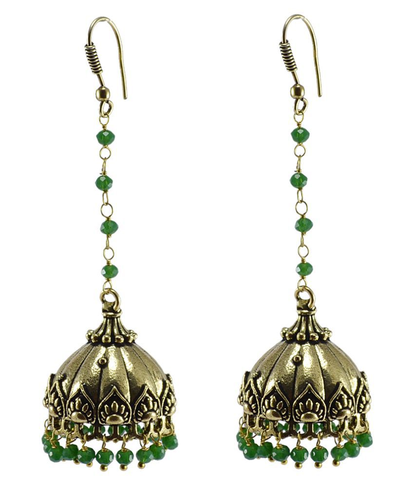 Silvesto India Golden Alloy Jhumki Earrings